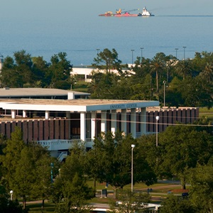 Aerial view of University Center and Lake Ponchartrain
